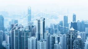 Skyline urbana moderna Comunicações globais e trabalhos em rede Cyberspace na cidade grande Mercado de valores de acção Comércio  fotografia de stock royalty free