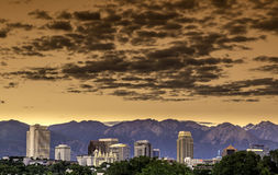 Skyline of Utah city with clouds Royalty Free Stock Photos