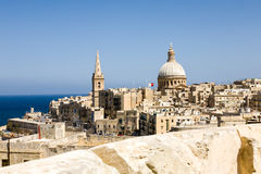 Skyline, Valletta, Malta. The skyline of the capital of Malta called Valletta against a blue sky and the mediterranean Stock Photography