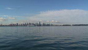 Skyline Vancouver, British Columbia, Canada fast zoom-out stock footage