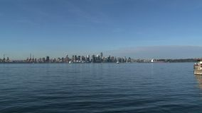 Skyline Vancouver, British Columbia, Canada zoom-out stock video footage