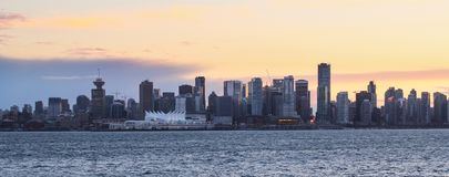 Skyline of Vancouver Downtown with sunset royalty free stock photos
