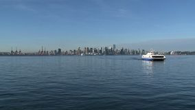 Skyline Vancouver with ferry, British Columbia, Canada stock footage