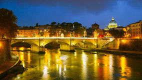 The skyline of Vatican City in Rome with River Tiber Royalty Free Stock Photography