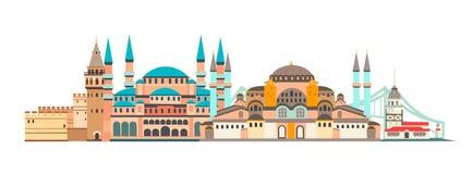 Skyline-Vektorillustration Istanbul-Stadt bunte Panoramisch von Istanbul lizenzfreie stockbilder