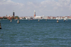 Skyline of Venice from Lido, Italy. In background Royalty Free Stock Images