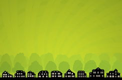 Skyline verde da cidade Fotografia de Stock Royalty Free