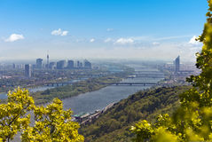 Skyline of Vienna and Danube Stock Image