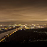 Skyline of Vienna and Danube at night - Viewpoint Leopoldsberg Royalty Free Stock Photography
