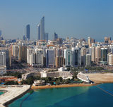 A skyline view of Abu Dhabi, UAE's capital city Stock Photos