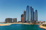 A skyline view of Abu Dhabi, UAE's capital city Stock Photo