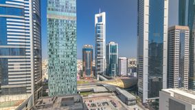 Skyline view of the buildings of Sheikh Zayed Road and DIFC timelapse in Dubai, UAE. Skyline view of the buildings of Sheikh Zayed Road and DIFC all day stock video