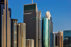 A skyline view of the buildings on Sheikh Zayed Road in Dubai, UAE Royalty Free Stock Images
