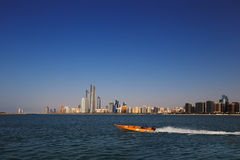 A skyline view of the Corniche Road as seen from Heritage Village in Abu Dhabi, UAE Stock Photo