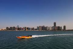 A skyline view of the Corniche Road as seen from Heritage Village in Abu Dhabi, UAE Stock Images