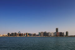 A skyline view of the Corniche Road West as seen from Marina Mall, Abu Dhabi, UAE Royalty Free Stock Photos