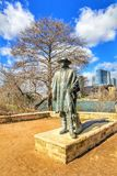 Cityscapes. Skyline view of the downtown district along the Colorado River with the statue of the late Stevie Ray Vaughan cityscapes royalty free stock image