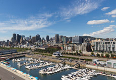 Skyline view of the downtown and the marina in Montreal, Canada Stock Photos
