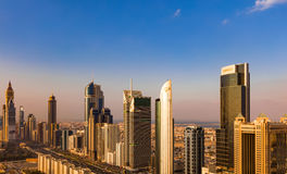 A skyline view of Dubai showing the buildings of Sheikh Zayed Road Royalty Free Stock Photos