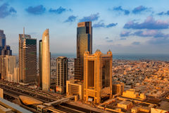 A skyline view of Dubai showing the buildings of Sheikh Zayed Road Stock Images