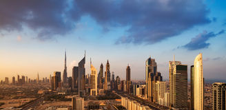 A skyline view of Dubai, UAE showing the buildings of Sheikh Zayed Road and DIFC Royalty Free Stock Image