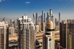 A skyline view of Jumeirah Lakes Towers, Dubai, UAE Stock Photography