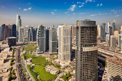 A skyline view of Jumeirah Lakes Towers, Dubai, UAE Royalty Free Stock Images