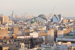 Skyline view of landmarks of Valencia, Spain. Colorful urban architecture of European city stock photos