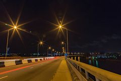 Skyline view of Lekki as seen from Ikoyi suspension bridge Lagos Nigeria at night. royalty free stock photos