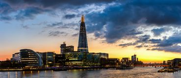 Skyline view of London business district, panoramic view at night. London, UK.  stock photo