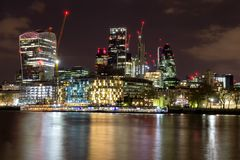 Skyline view of London business district, panoramic view at night. London, UK.  stock photography