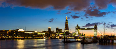 Skyline view of London business district, panoramic view at nigh Stock Images