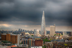 Skyline View of London from Southwark with Moody Sky Royalty Free Stock Photo