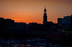 Skyline view of main landmark in hamburg - Michel church, german Royalty Free Stock Photo