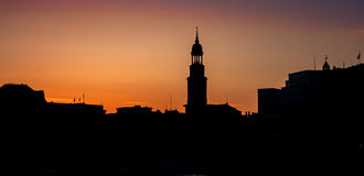 Skyline view of main landmark in hamburg - Michel church, german Stock Image