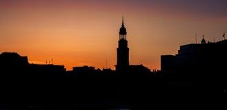 Skyline view of main landmark in hamburg - Michel church, german Stock Image