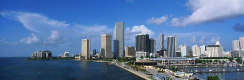 This is the skyline view of Miami along the bay. Stock Photo