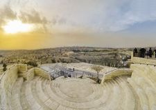 Jerusalem skyline view from the Mount of Olives Royalty Free Stock Photo