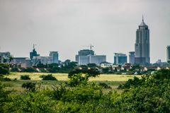 A skyline view of Nairobi city. Taken from the national park stock photos