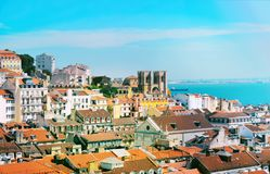 Skyline view over Rossio square, Lisbon. royalty free stock image