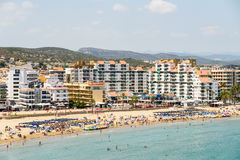 Skyline View Of Peniscola City Beach Resort At Mediterranean Sea Royalty Free Stock Photography
