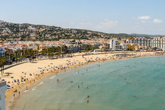 Skyline View Of Peniscola City Beach Resort At Mediterranean Sea Royalty Free Stock Images