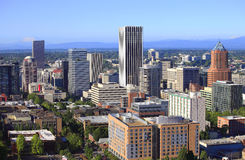 Skyline view of Portland Oregon. Royalty Free Stock Images