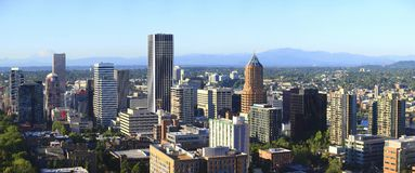 A skyline view of Portland Oregon. Stock Photos