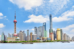 Skyline view on Pudong New Area, Shanghai. Royalty Free Stock Photography