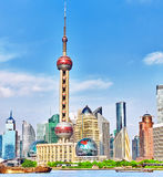 Skyline view on Pudong New Area, Shanghai. Skyline view from Bund waterfront on Pudong New Area- the business quarter of the Shanghai Royalty Free Stock Photos