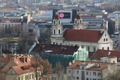 Skyline view of rooftops oldtown church in Vilnius Lithuania Royalty Free Stock Images