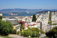 Skyline View of San Francisco, CA. Skyline View of San Francisco from Lombard Street, California, USA. Here is crookedest street in the world royalty free stock image