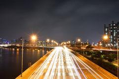 Skyline view of Seoul City from Mapo bridge Royalty Free Stock Photo