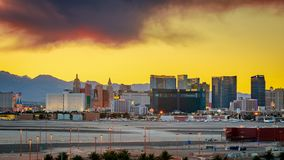 Skyline view at sunset of the famous Las Vegas Strip located in world class hotels and casinos, NV. Las Vegas, Nevada - May 28, 2018 : Skyline view at sunset of royalty free stock image